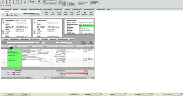 Warenwirtschaft Shopsoftware Auftragsansicht