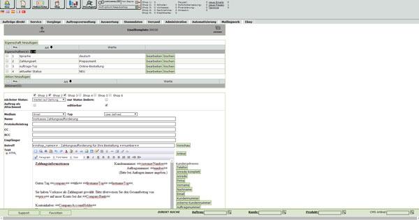 Warenwirtschaft Shopsoftware E-Mail Tempaltes
