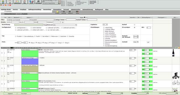 Warenwirtschaft Shopsoftware Produktstamm